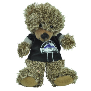 "MLB Colorado Rockies Black Hoodie Stuffed Plush Mini Teddy Bear 9"" Small Brown"