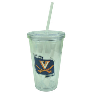 NCAA Virginia Cavaliers Tumbler Cup Straw Lid 16oz Water Plastic Sip N Go Clear