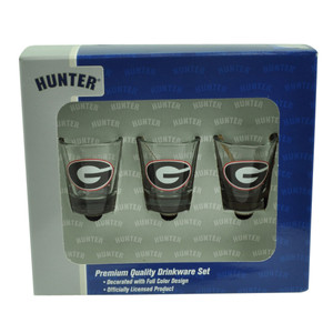 NCAA Georgia Bulldogs Drinkware Set 3pc Shot Glasses Party Printed Logo Drinks