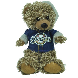 "MLB Milwaukee Brewers Navy Hoodie Stuffed Plush Mini Teddy Bear 9"" Small Brown"