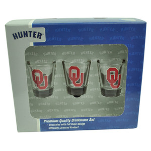 NCAA Oklahoma Sooners Drinkware Set 3pc Shot Glasses Party Printed Logo Drink