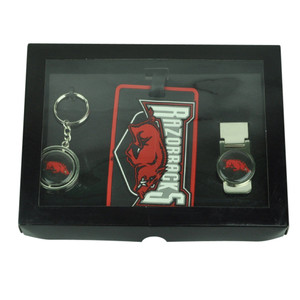 NCAA Arkansas Razorbacks Key Chain Money Clip Id Holder Men Gift Set Red Sport