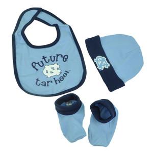NCAA North Carolina Tar Heels Bib Cap Booties Set 0/6 Months Baby Future Blue