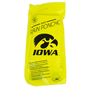NCAA Iowa Hawkeyes Adult Rain Poncho Hooded Storm Weather Yellow One Size Fan