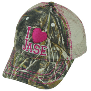 A&E Realtree Duck Dynasty I Heart Jase Ladies Garment Wash Mesh TV Show Hat Cap