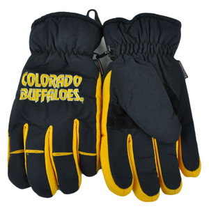 NCAA Colorado Buffaloes 2 Tone Winter Snow Ski Gloves Thermal Insulation Medium