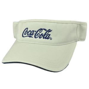 Coca Cola Atlanta Georgia Visor Pop Soda Coke Beige Velcro Drink Hat Adjustable