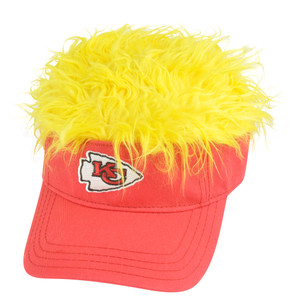 NFL Kansas City Chiefs Creed Flair Yellow Hair Visor Adjustable Red Fan Hat Cap