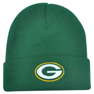 NFL Green Bay Packers Rice Cuffed Knit Beanie Youth Hat Green Football Winter