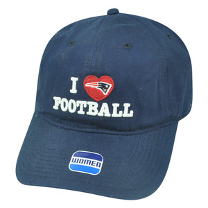 NFL New England Patriots I Love Football Cordelia Womens Sun Buckle Hat Cap Blue