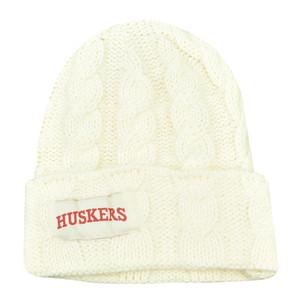 NCAA Nebraska Cornhuskers Huskers Kiera Women Ladies Cuffed Crochet Beanie Knit