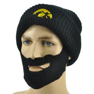 NCAA Iowa Hawkeyes  Detachable Beard Remove Knit Beanie Black Crochet Hat Skully