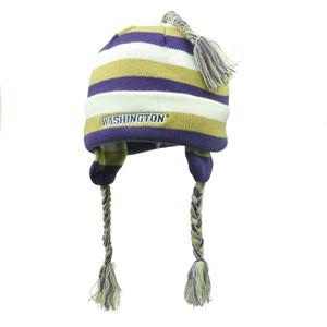 NCAA Washington Huskies Women Knit Star Striped Ear Flap Tassel Skully Beanie