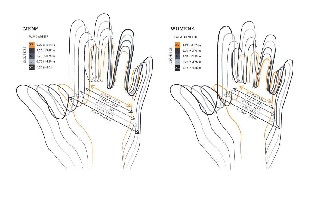 Snowboard glove sizing chart for Celtek Gloves & Mittens.