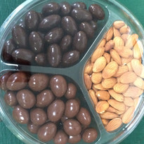 Raw California Almonds paired with Milk and Dark Chocolate Covered Almonds