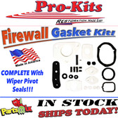 75-76 A-Body Firewall Gasket Kit for A/C with Wiper Pivot Seals