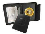 Black Leather Bi-Fold Badge Wallet