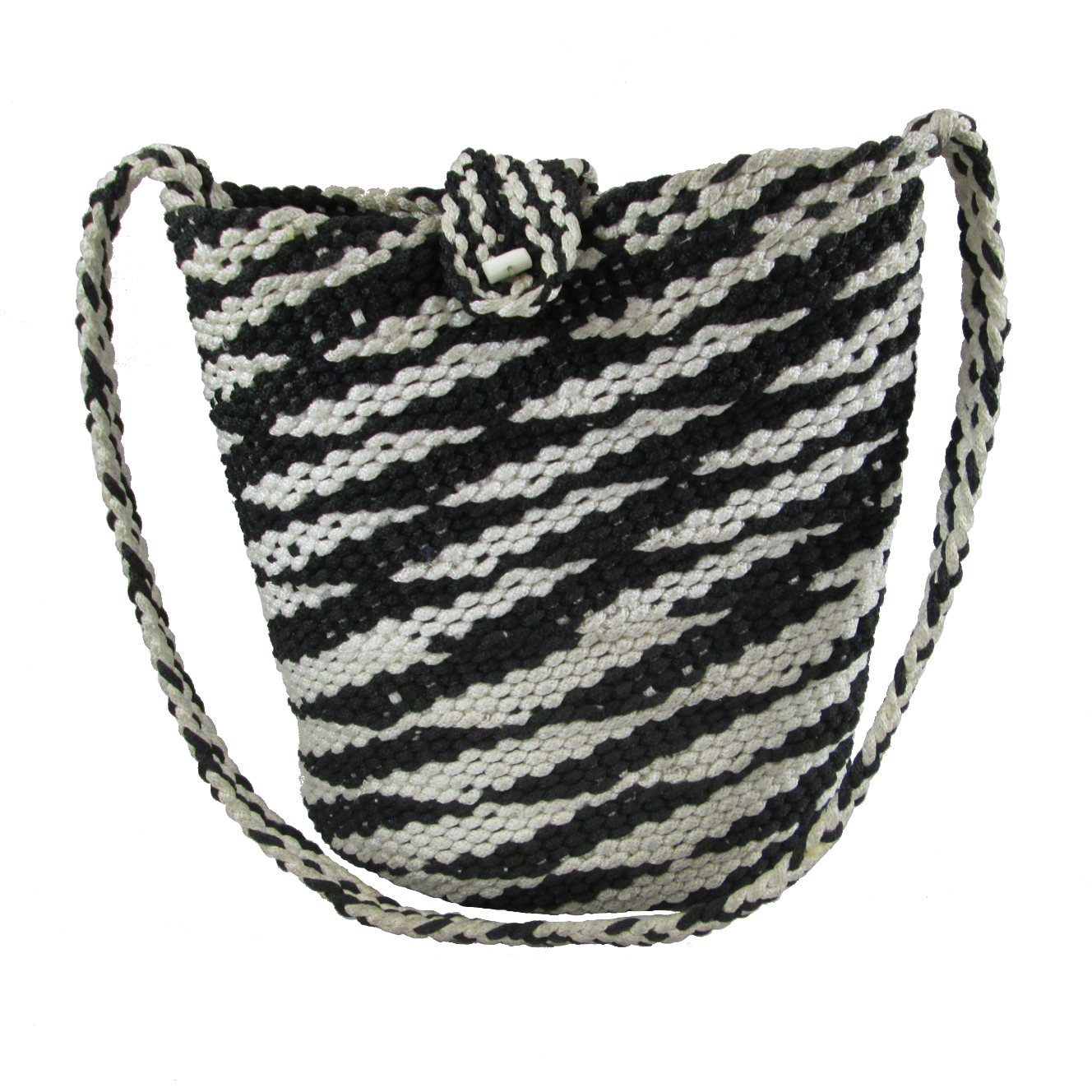 Black and White Polyester Purse