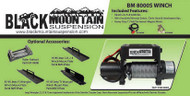 TJ Black Mountain 8000 lb. Winch Combo (Winch, Fairlead and Mount)