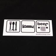 Eat, Sleep, Beer Bumper Sticker