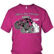 Women's Pink Jeep Wheelie T-Shirt