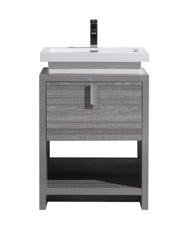 Tona Levi 24 High Gloss Ash Grey Modern Bathroom Vanity W Cubby Hole Bathroom Vanities