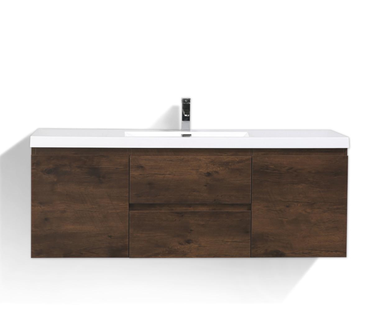 Moreno Mob 60 Single Sink Rosewood Wall Mounted Modern Bathroom Vanity With Reinforced Acrylic