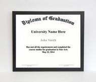 7x9 Diploma Frame - Thin Satin Black (no matting)