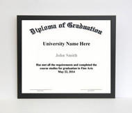 13x17 Diploma Frame - Thin Satin Black (no matting)