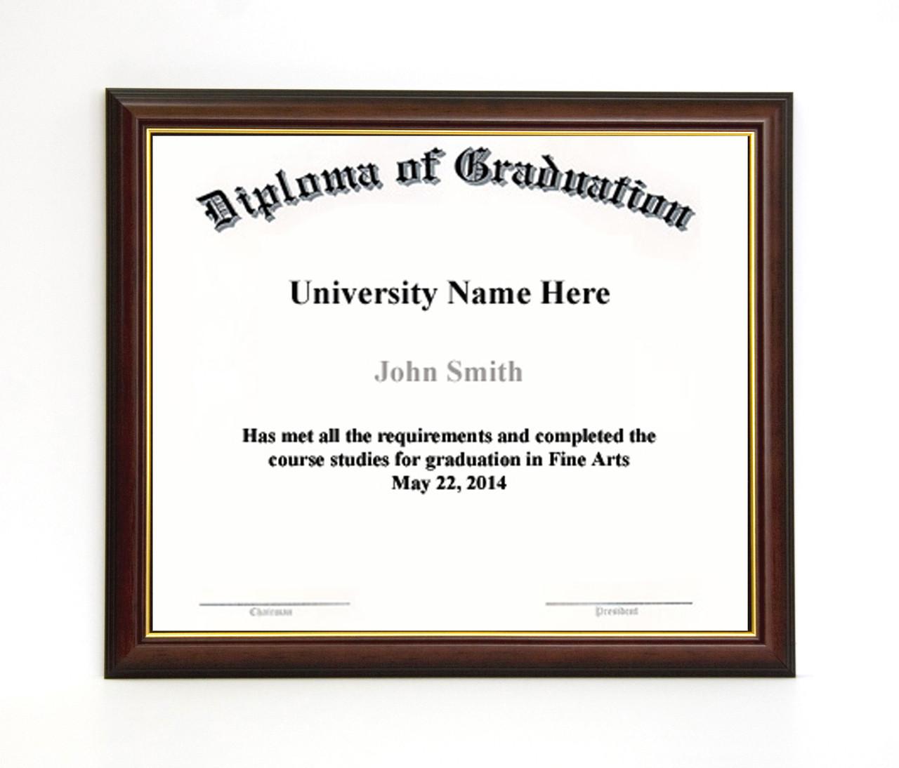 10x12 Diploma Frame - Dark Cherry with Gold Lip (no matting ...