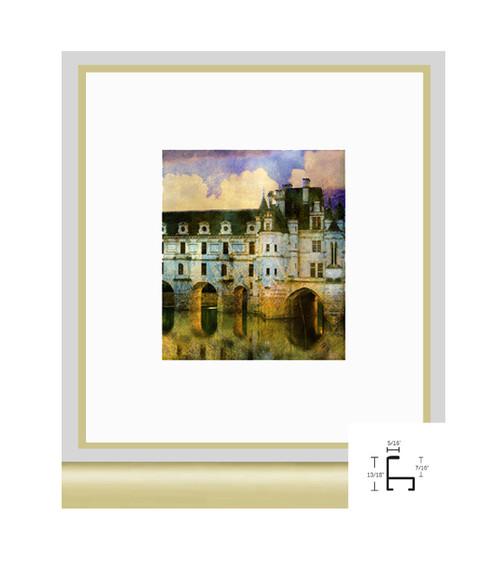 9x12 Frosted Gold Metal Frame - Minimal Flat Top - AnySizeFrame.com