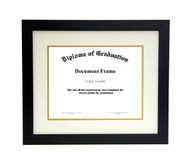16x20 Matted Diploma Frame - Wide Satin Black - Cream with Gold Matting