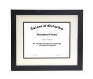 16x20 Matted Diploma Frame - Wide Satin Black - Cream with Black Matting