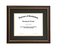 8.5x11 Matted Diploma Frame - Dark Cherry with Gold Lip - Black with Gold Matting
