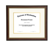 8.5x11 Matted Diploma Frame - Dark Cherry with Gold Lip - Cream with Gold Matting