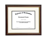 13x17 Matted Diploma Frame - Dark Cherry with Gold Lip - Cream with Black Matting