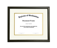 11x14 Matted Diploma Frame - Black with Gold Lines - Cream with Gold Matting