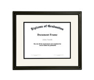 11x14 Matted Diploma Frame - Black with Gold Lines - Cream with Black Matting