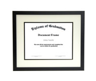 14x18 Matted Diploma Frame - Thin Satin Black - Cream with Black Matting
