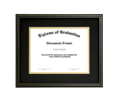 10x12 Matted Diploma Frame - Black with Gold Lines - Black with Gold ...