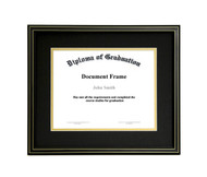 11x14 Matted Diploma Frame - Black with Gold Lines - Black with Gold Matting