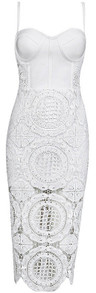 Crochet Midi Bandage Dress White