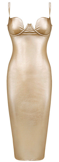 Faux Leather Midi Dress Gold
