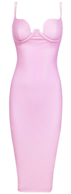 Faux Leather Midi Dress Pink