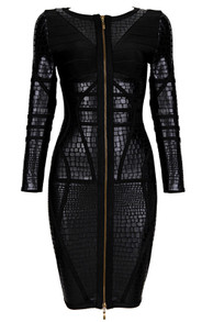 Crocodile Print Bandage Dress Black
