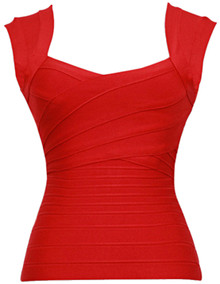 Sweetheart Cut Out Bandage Top Red