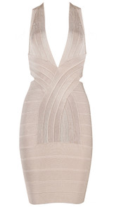 Plunge V Neck Cross Back Bandage Dress Nude