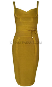 Tie Detail Bandage Dress Green