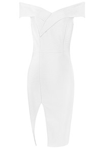 Crossover Bardot Slit Bandage Dress White