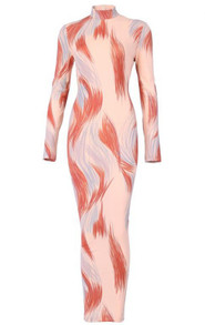 Long Sleeve Printed Midi Dress Nude